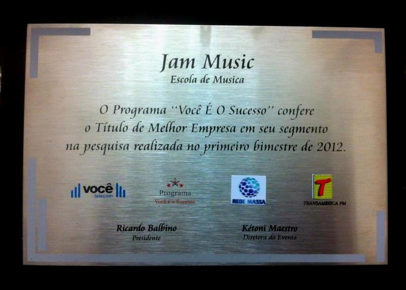 Prêmio Melhor Escola de Música de Curitiba - JAM Music